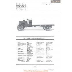 Federal One Ton Truck S Fiche Info 1918