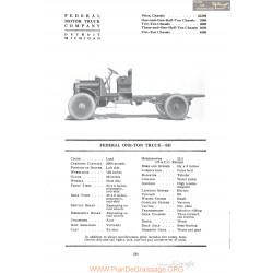Federal One Ton Truck Sd Fiche Info 1920