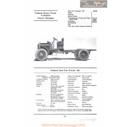 Federal One Ton Truck Sd Fiche Info 1922