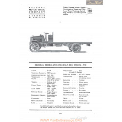 Federal Three And One Half Ton Truck Wd Fiche Info 1920