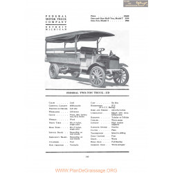 Federal Two Ton Truck Ud Fiche Info 1919