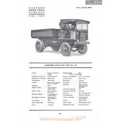 Garford Five Ton Truck 68 Fiche Info 1920
