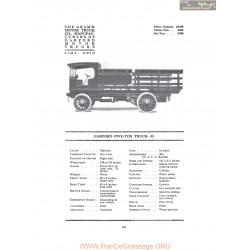 Garford Five Ton Truck D Fiche Info 1916