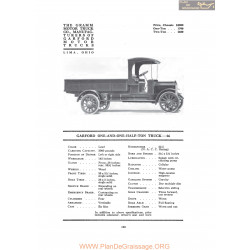 Garford One And One Half Ton Truck 66 Fiche Info 1917