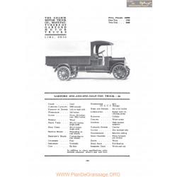 Garford One And One Half Ton Truck 66 Fiche Info 1917