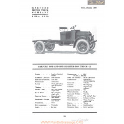 Garford One And One Quarter Ton Truck 25 Fiche Info 1920