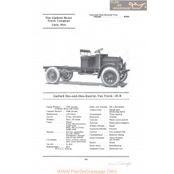 Garford One And One Quarter Ton Truck 25b Fiche Info 1922