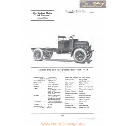 Garford One And One Quarter Ton Truck 25b Fiche Info 1922