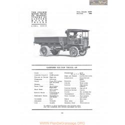 Garford Six Ton Truck 69 Fiche Info 1917