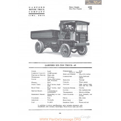 Garford Six Ton Truck 69 Fiche Info 1918