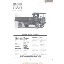 Garford Six Ton Truck 69 Fiche Info Mc Clures 1917