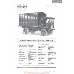 Garford Three And One Half Ton Truck 77b Fiche Info 1918