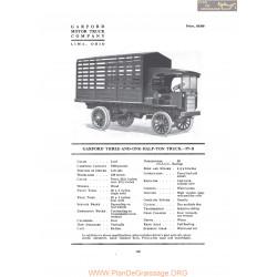 Garford Three And One Half Ton Truck 77b Fiche Info 1919