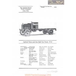 Garford Three And One Half Ton Truck 77d Fiche Info 1922