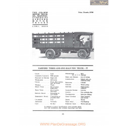 Garford Three And One Kalf Ton Truck 77 Fiche Info 1917