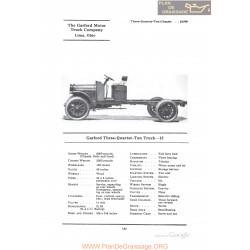 Garford Three Quarter Ton Truck 15 Fiche Info 1922