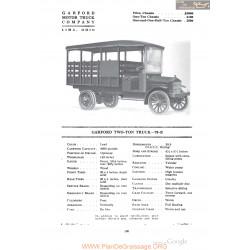 Garford Two Ton Truck 70b Fiche Info 1918