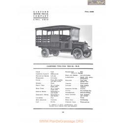 Garford Two Ton Truck 70b Fiche Info 1919