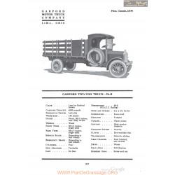 Garford Two Ton Truck 70h Fiche Info 1920