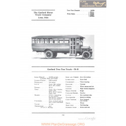 Garford Two Ton Truck 70h Fiche Info 1922