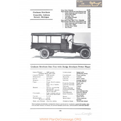 Graham Brothers One Ton With Dodge Brothers Power Plant Fiche Info 1922