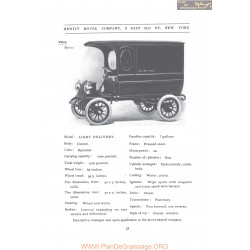 Hewitt Light Delivery Fiche Info 1906