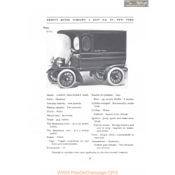 Hewitt Light Delivery Fiche Info 1907