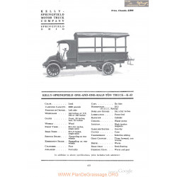 Kelly Springfiekd One And One Half Ton Truck K32 Fiche Info 1918
