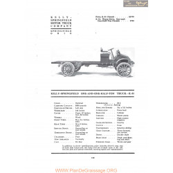 Kelly Springfield One And One Half Ton Truck K31 Fiche Info 1919