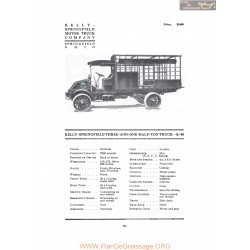 Kelly Springfield Three And One Half Ton Truck K40 Fiche Info 1916