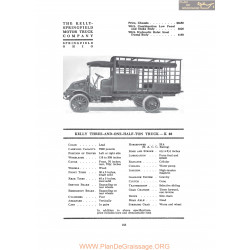 Kelly Springfield Three And One Half Ton Truck K40 Fiche Info 1917