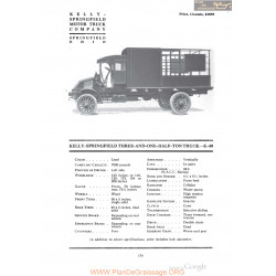 Kelly Springfield Three And One Half Ton Truck K40 Fiche Info 1918