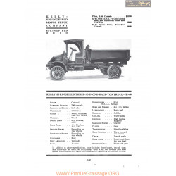 Kelly Springfield Three And One Half Ton Truck K40 Fiche Info 1919
