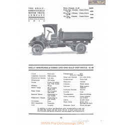 Kelly Springfield Three And One Half Ton Truck K40 Fiche Info 1920
