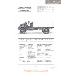 Kelly Springfield Three And One Half Ton Truck K41 Fiche Info 1922