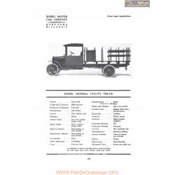 Kissel General Utility Truck Fiche Info 1919