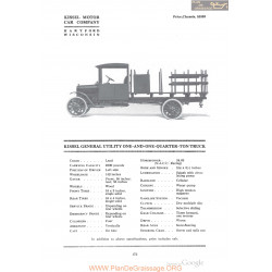 Kissel Genreal Utility One And One Quarter Ton Truck Fiche Info 1918