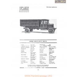 Kissel Heavy Duty Truck Fiche Info 1919
