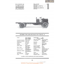 Kleiber Two And One Half Ton Truck B Fiche Info 1920