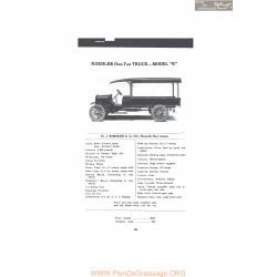 Koehler One Ton Truck Model K Fiche Info 1916
