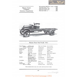 Maccar Four Ton Truck M2 Fiche Info 1922