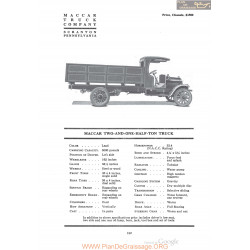 Maccar Two And One Half Ton Truck Fiche Info 1920