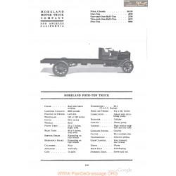 Moreland Four Ton Truck Fiche Info 1918