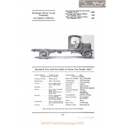 Moreland Two And One Half To Three Ton Truck 22c Fiche Info 1922