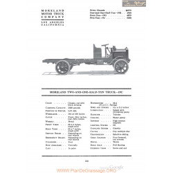 Moreland Two And One Half Ton Truck 19c Fiche Info 1920