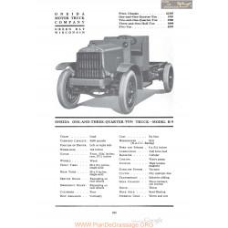 Oneida One And Three Quarter Ton Truck Model B9 Fiche Info 1920