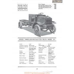 Oneida Three And One Half Ton Truck Model D9 Fiche Info 1920
