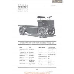 Oneida Two Ton Unit Drive Electrique Truck 2 E Fiche Info 1920
