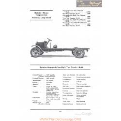 Rainier One And One Half Ton Truck R16 Fiche Info 1922