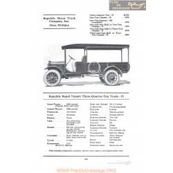 Republic Rapid Transit Three Quarter Ton Truck 75 Fiche Info 1922
